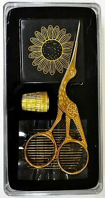 Sewing & Embroidery Gift Set, Stork Scissors, Thimble, Needles & Tape
