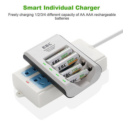 EBL 4 Slot Smart Battery Charger For Ni-MH Ni-CD AA AAA Rechargeable Batteries