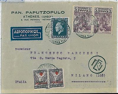 GREECE  Ελλάδα - Postal History : COVER to ITALY 1937 - RED CROSS