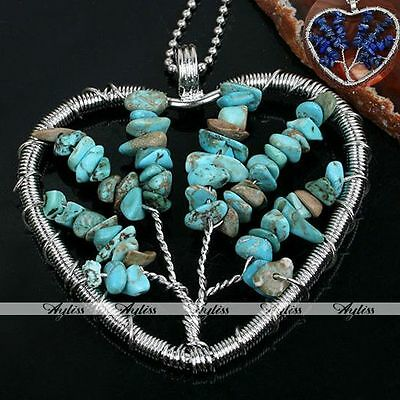 Lapis Lazuli Howlite Turquoise Chip Gemstone Heart Life-Tree Wire Wrap Pendant