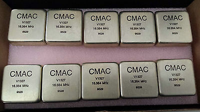 LOT OF 2 PIECES OF CMAC V1327 RF Crystal Oscillator 16.384 MHz (A1)