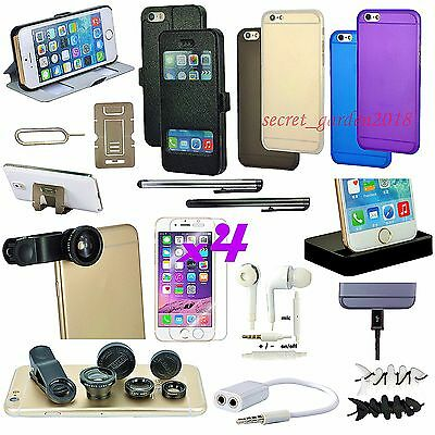 20 x Accessory Bundle Black Fish Eye Lens Case Cover Dock Charger For iPhone 6