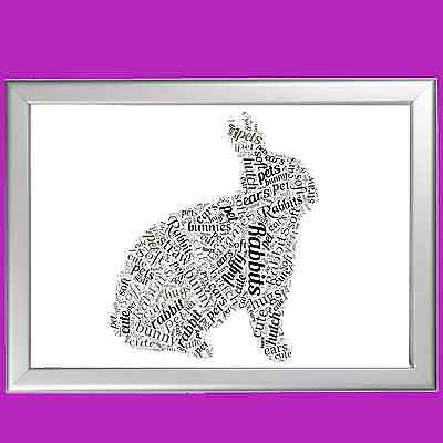 WORD ART FOR Pet Memorial - RABBIT - LOST PET - PERSONALISED (ANY PET AVAILABLE)