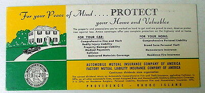 1950's PROVIDENCE RHODE ISLAND INK BLOTTER AUTOMOBILE MUTUAL INSURANCE CO