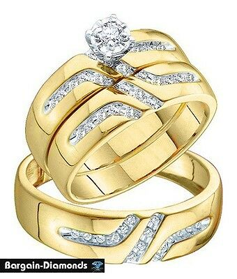 Diamond 3 Ring Wedding Band Set .28 Ct Engagement 14K Gold Bridal Matching  Groom