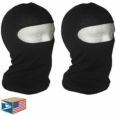 2 LOT BALACLAVA FULL FACE MASK Solid Black HEAD COVER TACTICAL MILITARY NINJA!