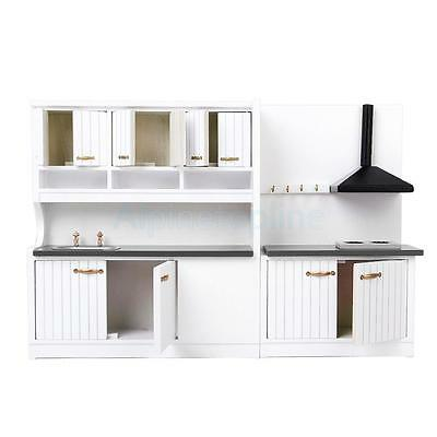 Miniature Furniture Wooden Kitchen Stove Cabinet Set for Dollhouse 1/12 Scale
