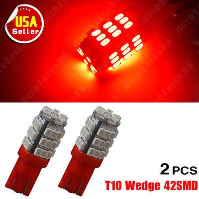 2PCS Red T10 Wedge Side 42SMD LED Backup Reverse High Stop RV Light W5W 921 912
