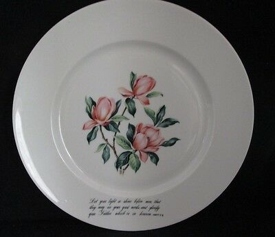 """Tulip 10 1/4"""" Plate with Book of Matthew Bible Quote"""