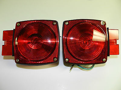 Trailer 7 8 Function Light Stop Turn Tail Light Taillight Square Red - PAIR