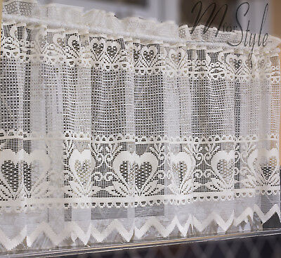 "Lace Cafe Net Curtain Cream Hearts 24"" drop Price Per Metre"