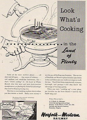 1956 LOOK WHAT'S COOKING NORFOLK AND WESTERN RAILWAY AD