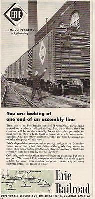 1956 THE END OF AN ASSEMBLY LINE ERIE RAILROAD AD
