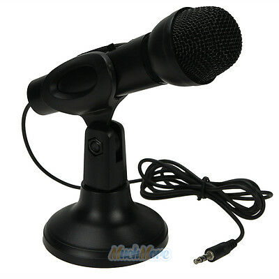 3.5mm Stereo Karaoke Studio Speech Microphone Mic Stand Mount For PC Laptop New