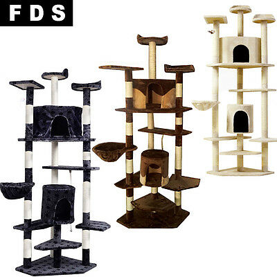Cat Tree Activity Centre Scratcher Scratching Post Sisal Toys Playing Bed 200 CM