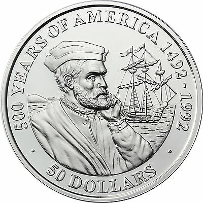 Cookinseln 50 Dollars 1990 500 Jahre Amerika Jacques Cartier Silber,PP