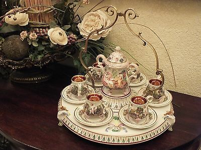 "14 Pc CAPODIMONTE Demitasse/ Espresso/ Chocolate Set ""Cherub, Mermaids & Nudes"""