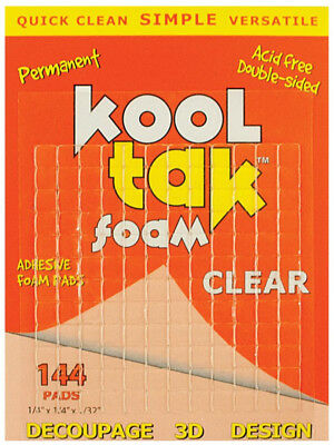 Kool Tak Clear Foam Pads 3D Permanent Acid Free Double-Sided High Tack Adhesive