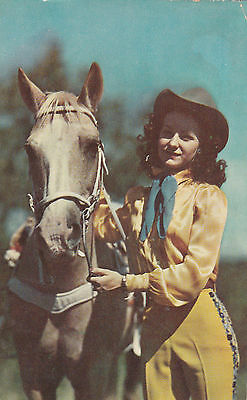 1952 PALOMINO HORSE COWGIRL POSTCARD - BEAUTY AND HER MOUNT