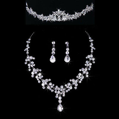 Bridal Wedding Party Jewelry Set Crystal Rhinestone Necklace & Earrings & Tiara