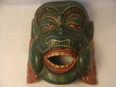 ANTIQUE VINTAGE ORIENTAL WOOD MONKEY MASK SOUTH CHINA TIBET BEAUTIFUL!!!