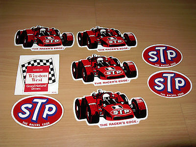 Lot Of 8 Vintage Nascar Winston West Decals Stickers The Racers Edge STP Racing