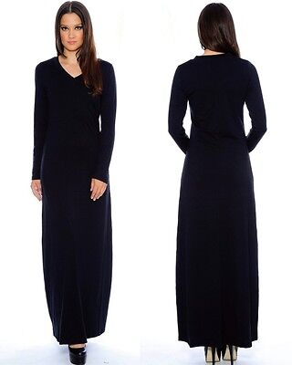 "Solid Black Long Sleeve Maxi Dress ""my Favorite Tee"" Thick Plush Knit Usa Seller"