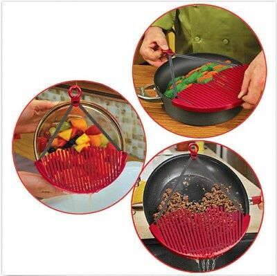 Kitchen Pot Pan Top Drainers Expandable Large Strainer Colander Water Filter