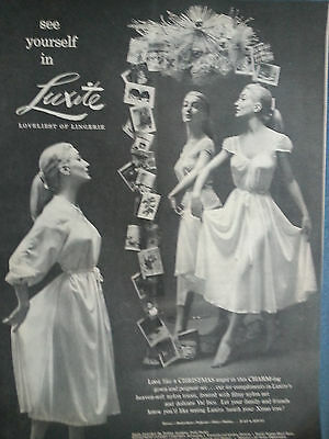 1952 LUXITE Womens Gown Peignoir Lingerie Christmas Angel Original Ad