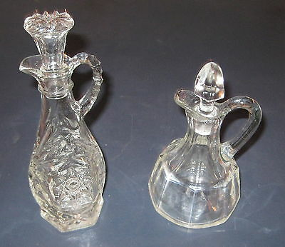 Two (2) Clear Glass Cruets with Stoppers