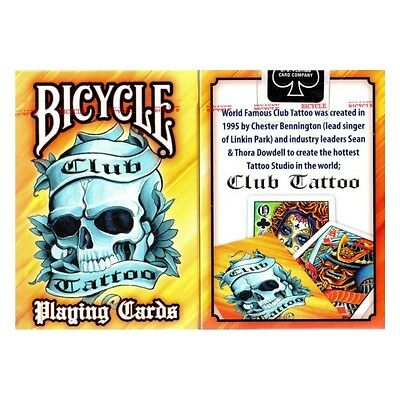 1 Deck Bicycle Club Tattoo Skull Yellow Standard Poker Playing Cards Brand New