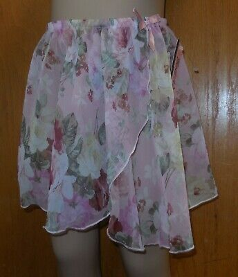 NWT BodyWrappers print pullup mockwrap skirt Print style 138floral child S-M 4-8