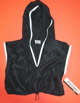 NWT Body Wrappers 3100 Hip Hop hoodie black w/ white trim drawstring pull cord