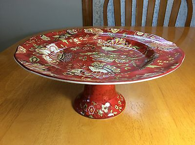 222 Fifth Gabrielle Red Cake Serving Dish. Beautiful. Porcelain. New