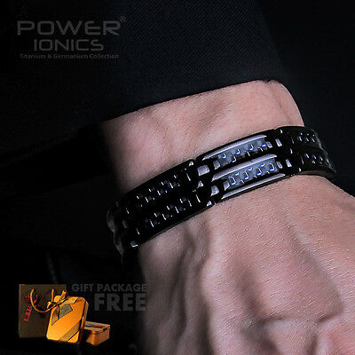 Power Ionics Black 100% Titanium w/ 32xMagnetic Therapy Bracelet Free Gift Pack
