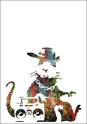 New Banksy Street Rat Colourful Anarchy Decor Print Wall Art Home Premium Poster