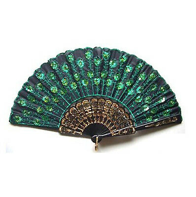 Peakcock Green Sequins Lace Lady's Silk Hand Fan Folding Embroider Exquisite US