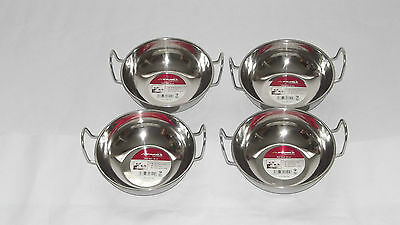 4X18cm STAINLESS STEEL BALTI DISH BOWL INDIA CURRY KARAHI KADAI SERVING BOWLS