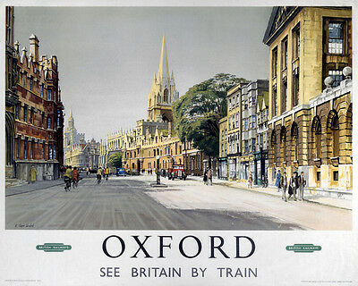 Vintage Rail advertising travel railway poster  A4 RE PRINT Oxford 2