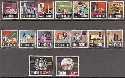 MALTA : 1973 Definitives set complete ( 2 x £2)  SG 486-500b unmounted mint