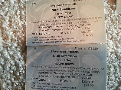 2 Tickets ORC Left Row I Seat 1 and 2 7:30PM Paramount Theatre 11/20 Tasteittour