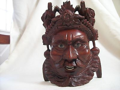 Hand Carved Rose Wood, Chinese EMPEROR MASK 2 DRAGONS Inlaid Eyes Teeth
