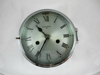 English Nickel Plated Ships Clock,  Shift Bell Marked Watchkeeper Mfh C1930'S