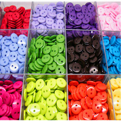 100/200pc Resin Buttons Mixed colors craft crapbook sewing 8mm 2 Holes Round New