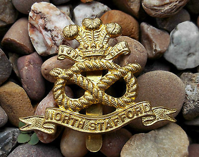 British Army North Staffordshire Regiment WW1 Economy Cap Badge -  Reproduction