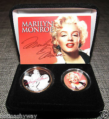 MARILYN MONROE 24Kt Gold 2 Coin Set Model Erotic Picture Blonde Girl Lady Nude