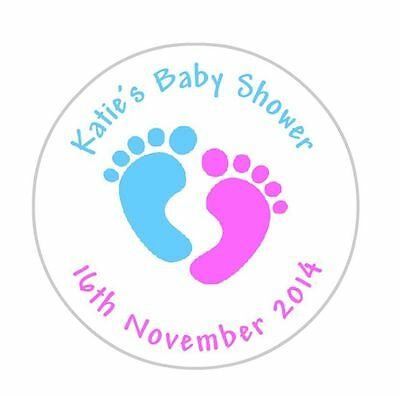 24 personalised baby shower footprints stickers labels pink and blue
