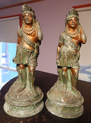 Fantastic Pair Antique Painted Indian Statues Spelter Lamp Bases BIG SALE!!!!
