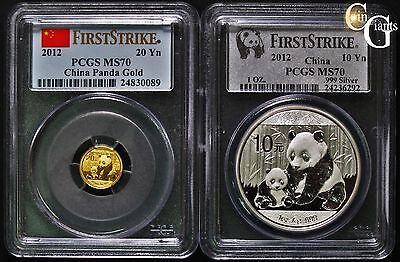 2012 China Silver & Gold Panda 10Yn + 20Yn PCGS MS70 FS First Strike 1oz 1/20oz
