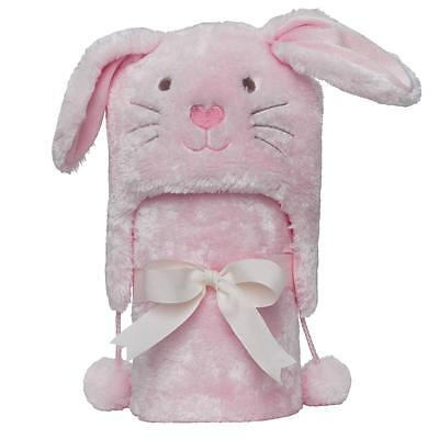 Elegant Baby Pink Winterland Bunny Aviator Hat and Stroller Blanket Gift Set